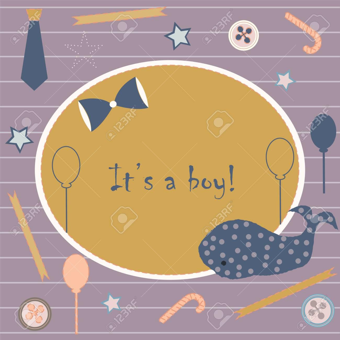 baby boy birth announcement- modern