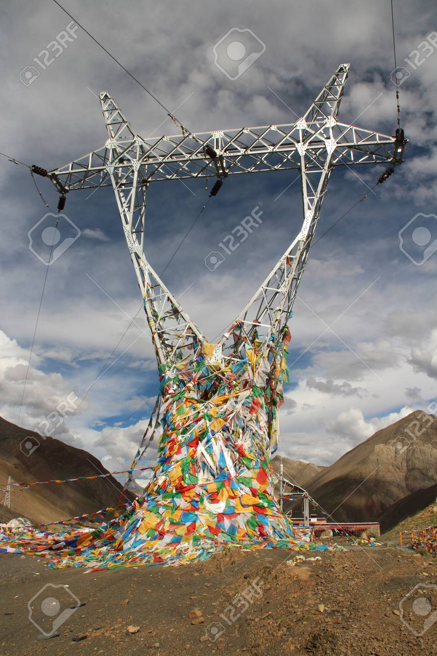 Power Transmission Tower With The Prayer Flags In Tibet China Stock Photo Picture And Royalty Free Image Image 36452205