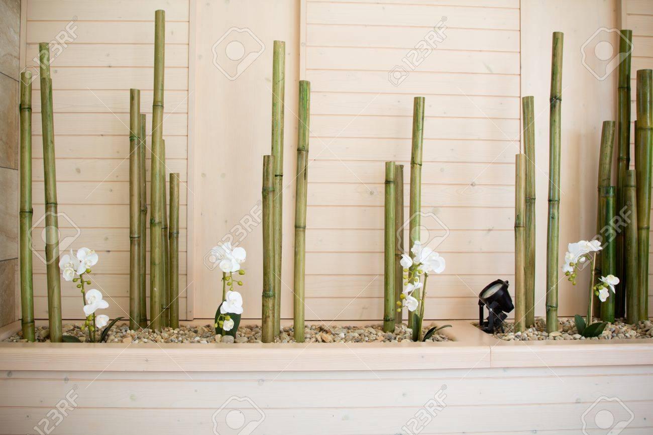 Flores De La Orquidea Con La Decoracion De Bambu Fotos Retratos - Decoracion-bambu