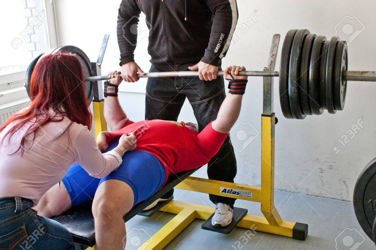 PECS - JANUARY 29: Unknown man participates in Amateur bench press  championship in Professors GYM