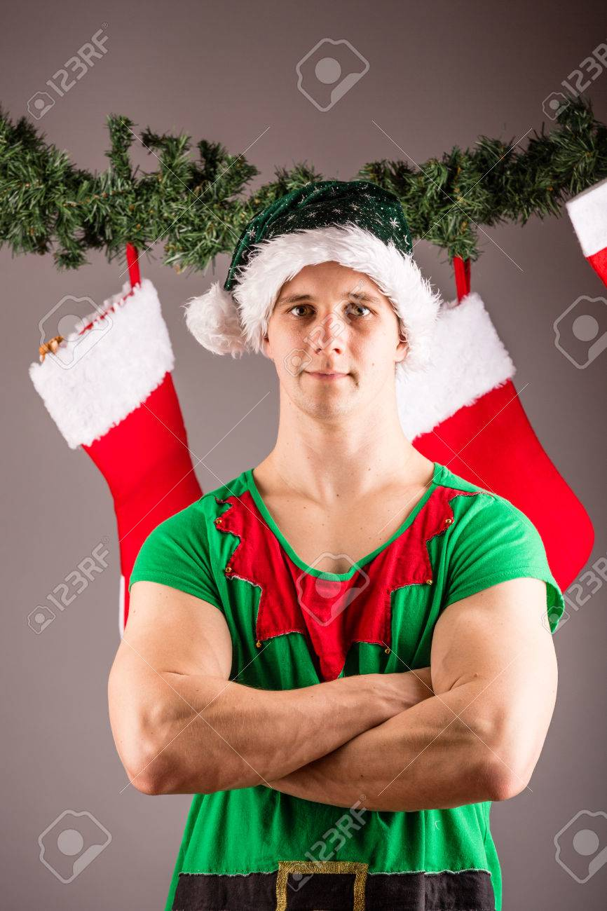 Funny Christmas Elf In Green Suits Stock Photo 69147587