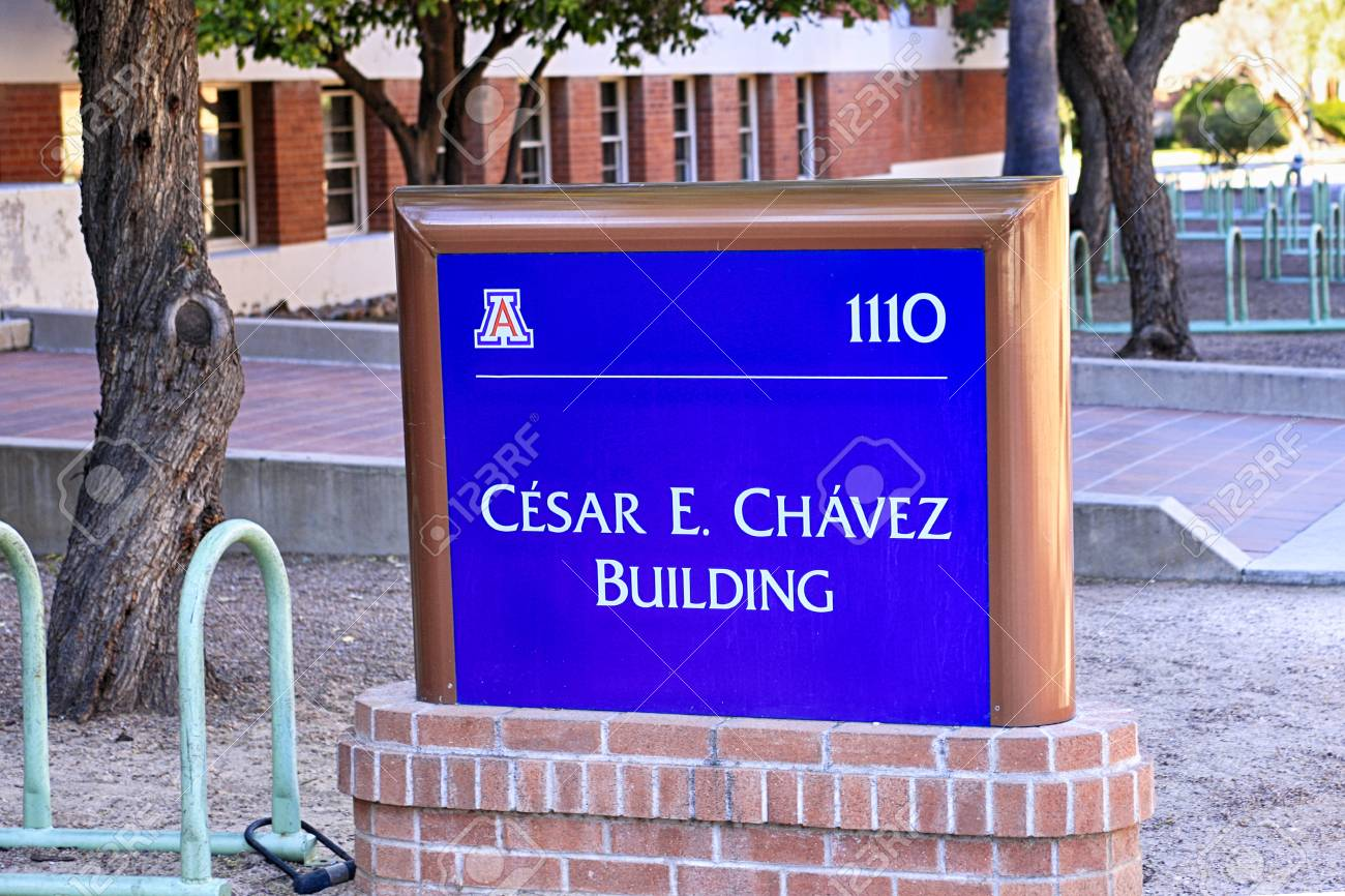 Sign outside the Cesar E Chavez building on the University of