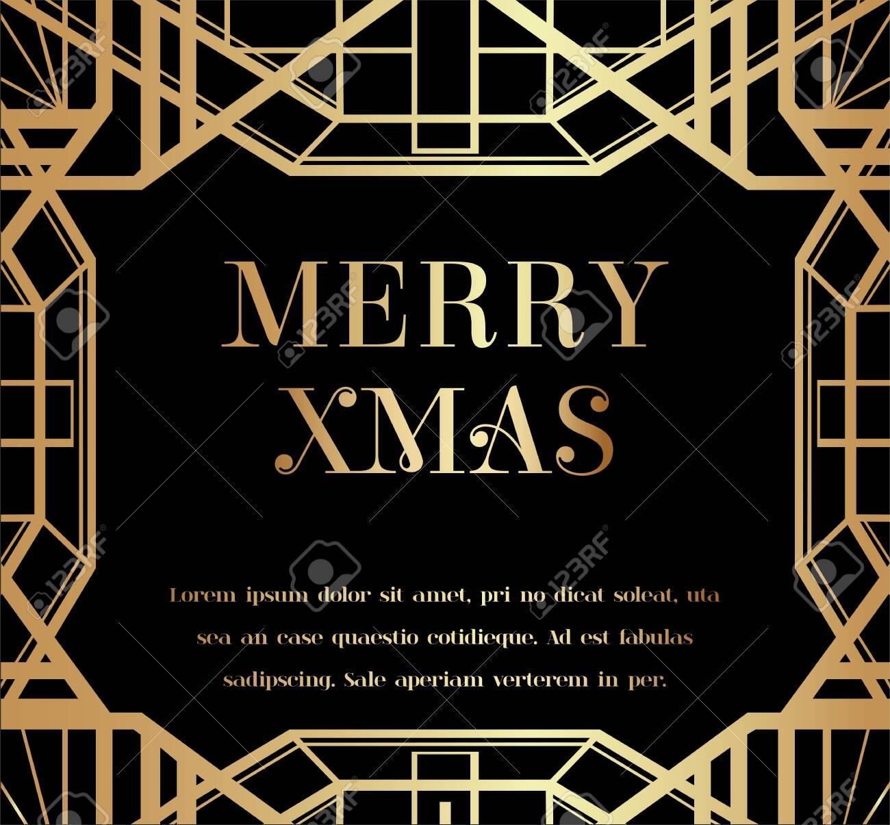 Merry Christmas or Xmas Art Deco Invitation Design - 146601573