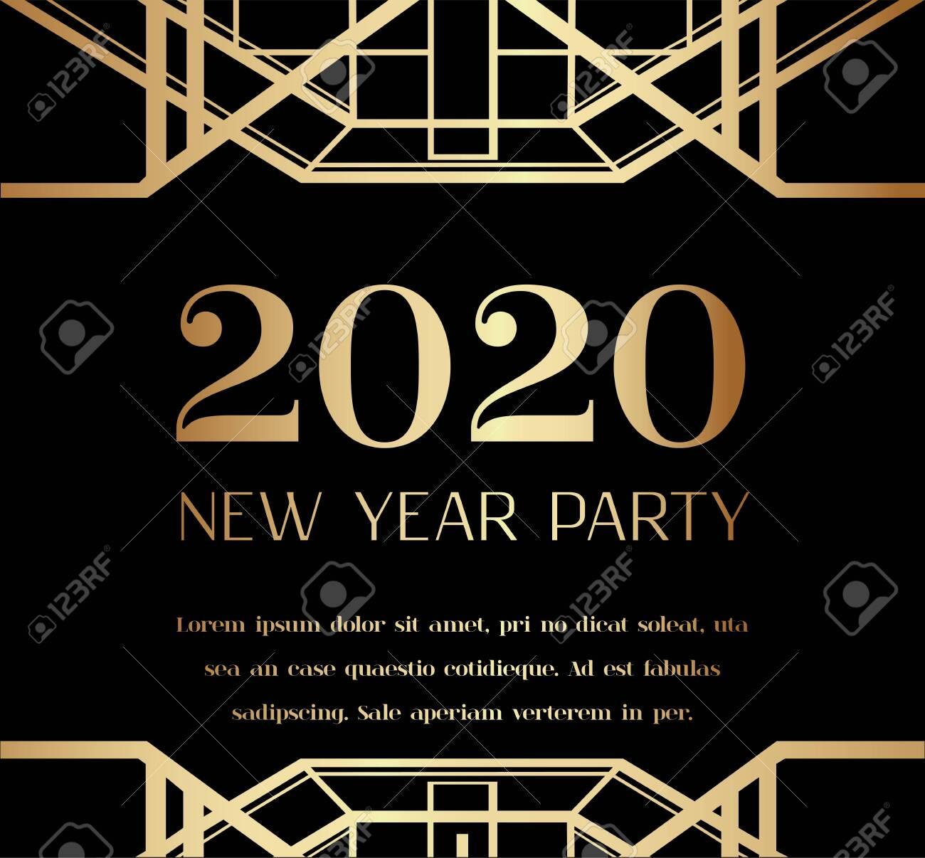 2020 New Year Party Art Deco Invitation Design - 146601574