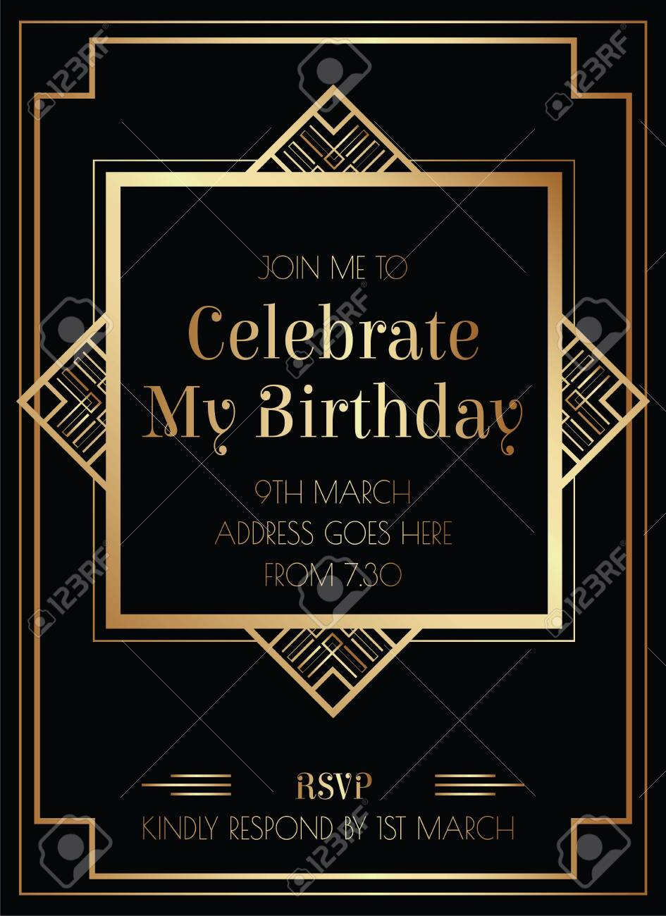 Geometric Gatsby Art Deco Style Birthday Invitation Design - 146601624
