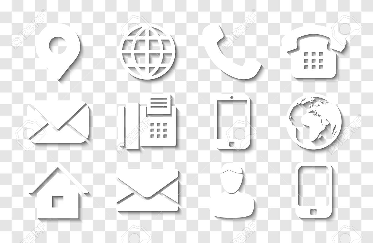 White Contact Info Icon Set with Shadows for Location Pin, Phone, Fax, Cellphone, Person and Email Icons. - 147355312