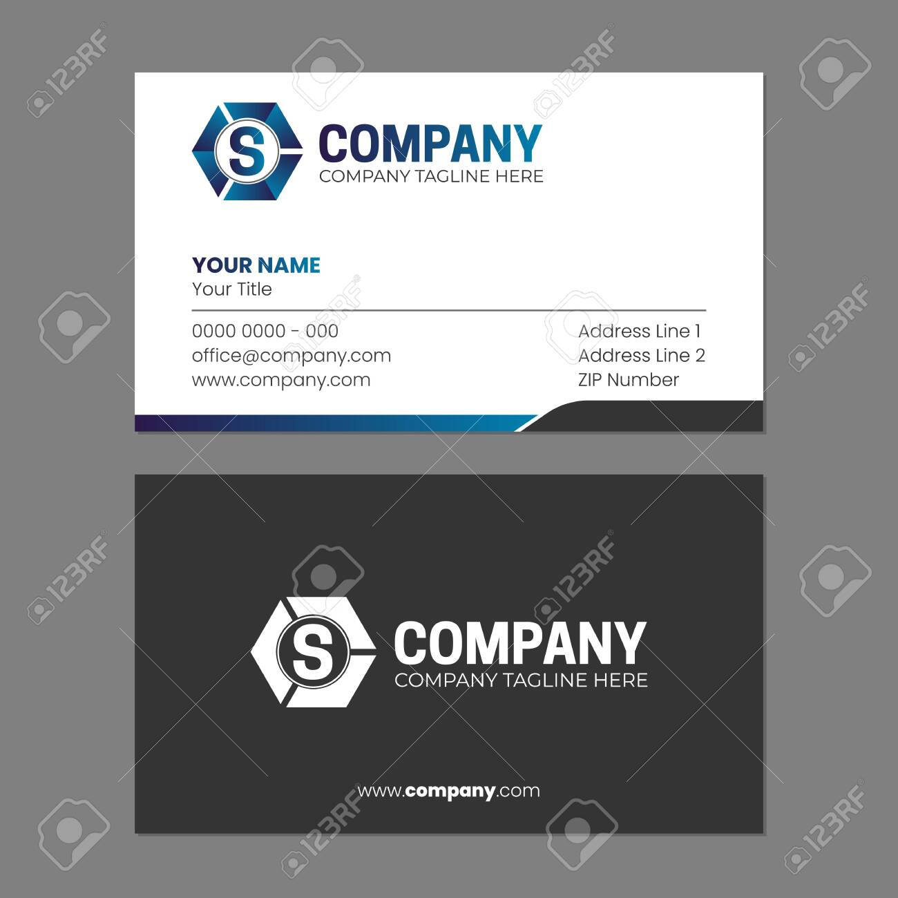 Initial Abstract and Business Card Design Template - 147356261