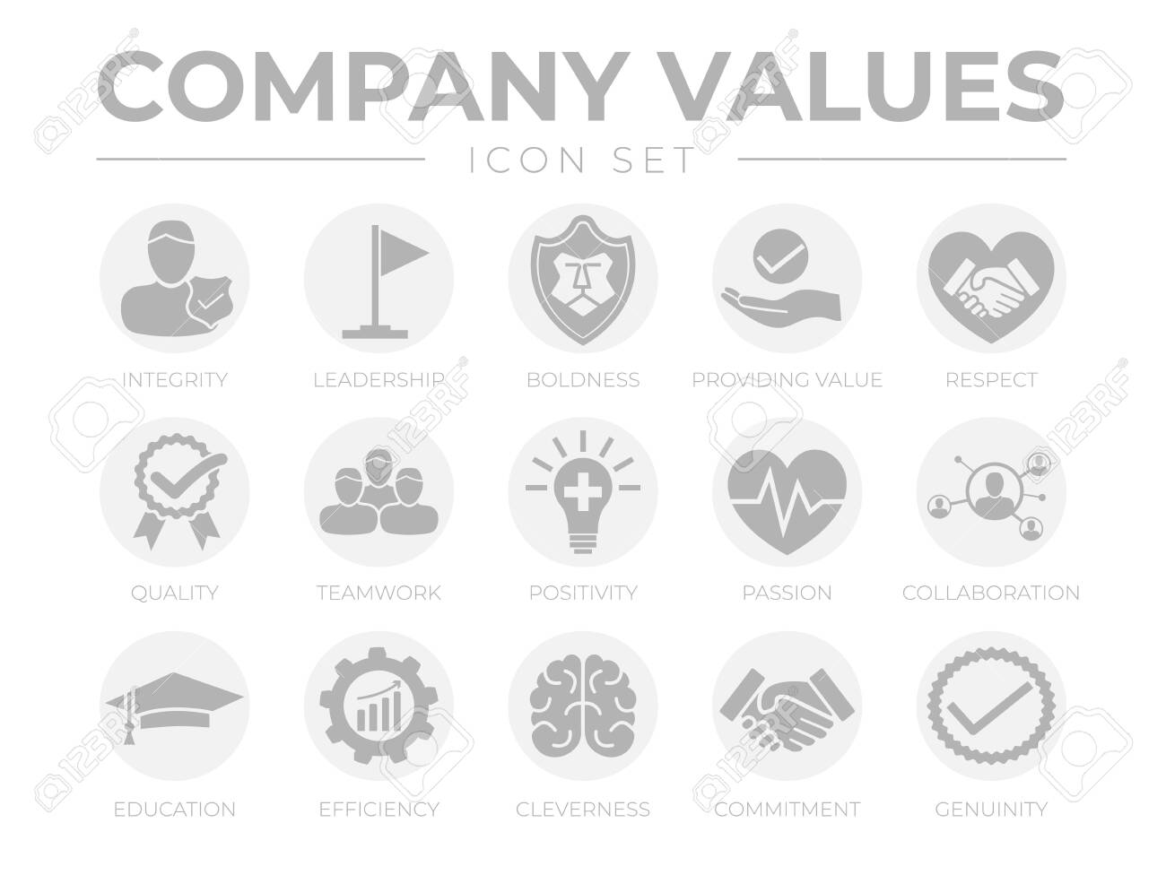 Business Company Values Round Gray Icon Set Integrity Leadership Royalty Free Cliparts Vectors And Stock Illustration Image 152324420