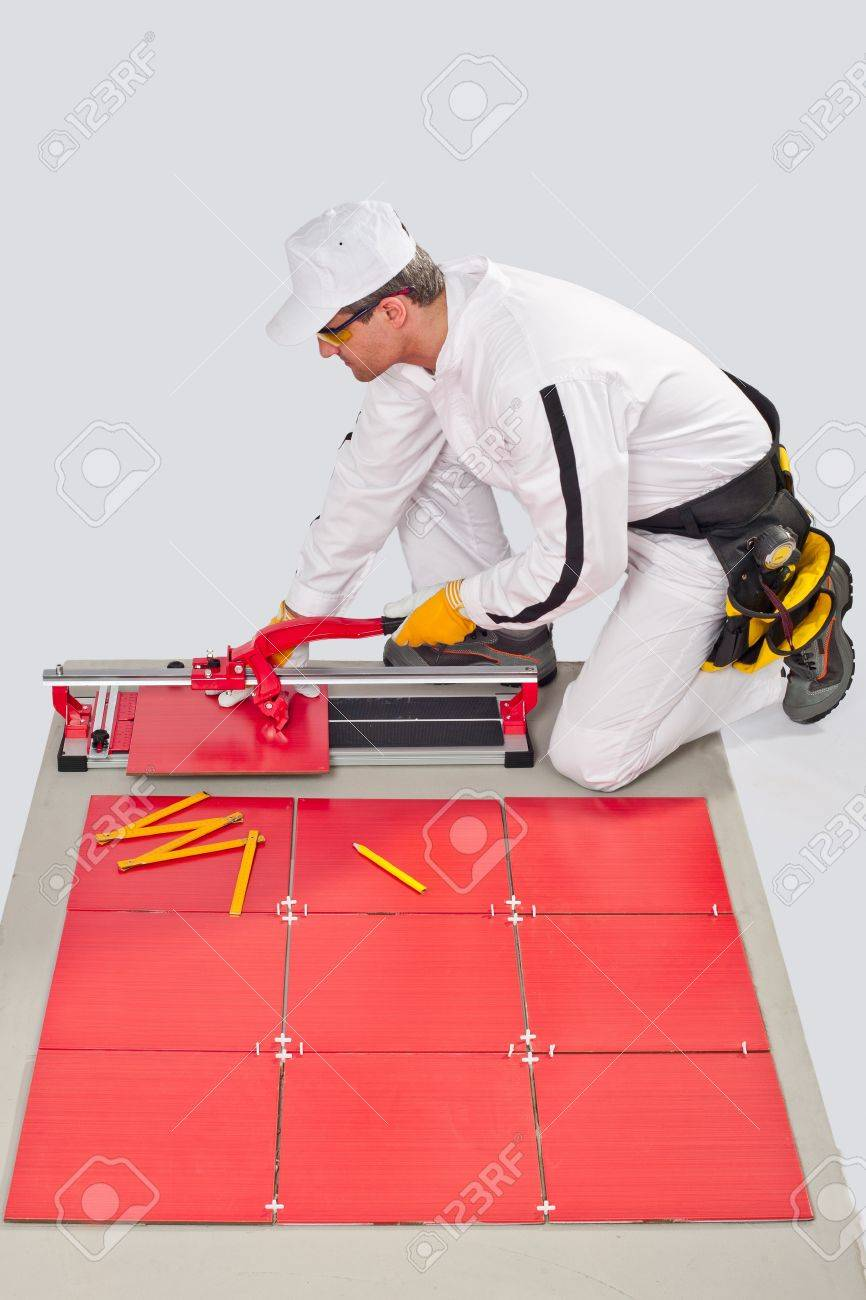Worker Cut Ceramic Tile Machine Tiling Joint Crosses Stock Photo