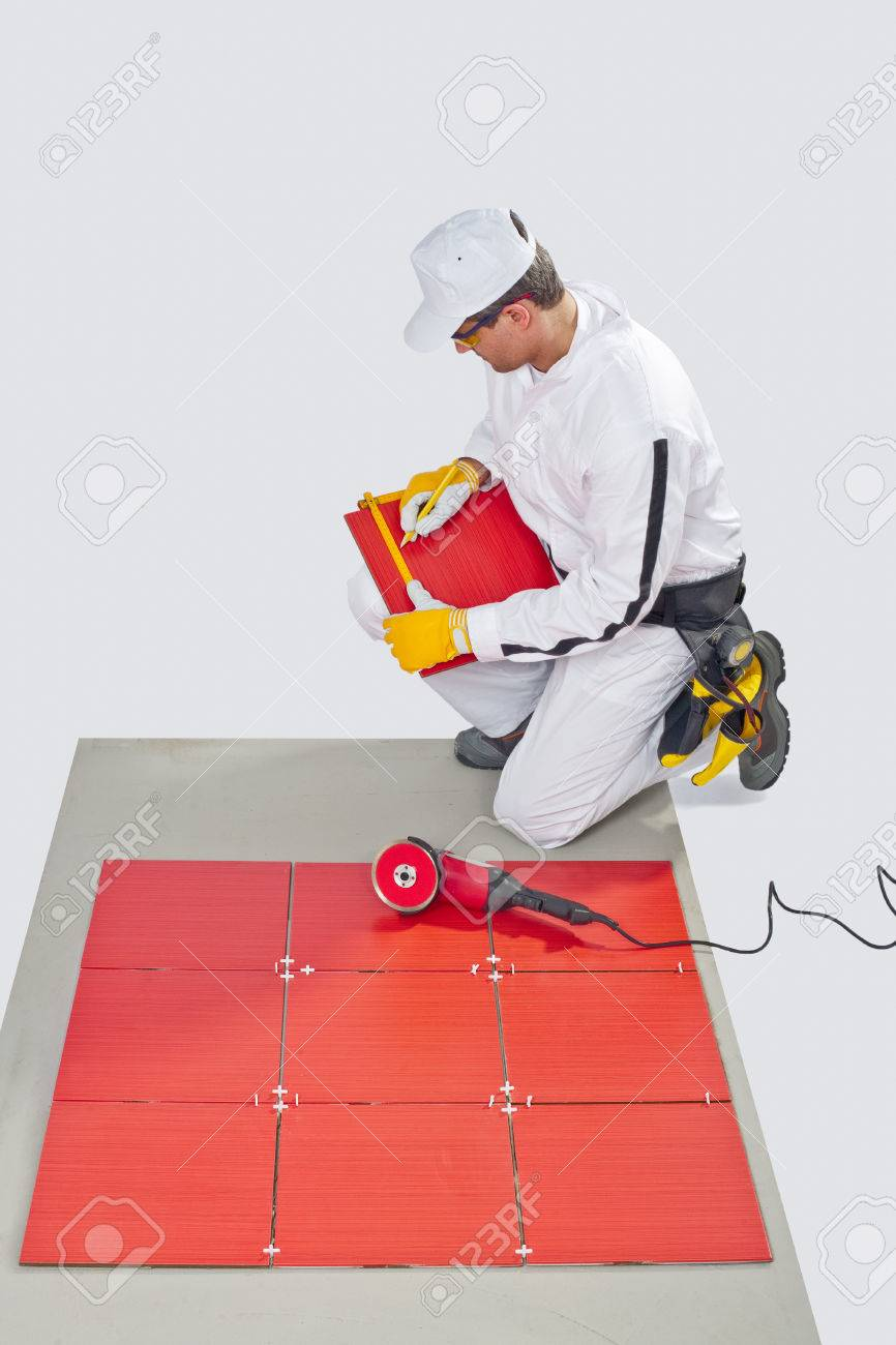 Construction Worker Glued Ceramic Tile Floor Stock Photo Picture