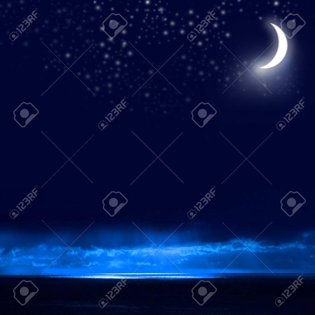 Night Sky, Bright Stars, Galaxy, and Moon Stock Photo - 9630411