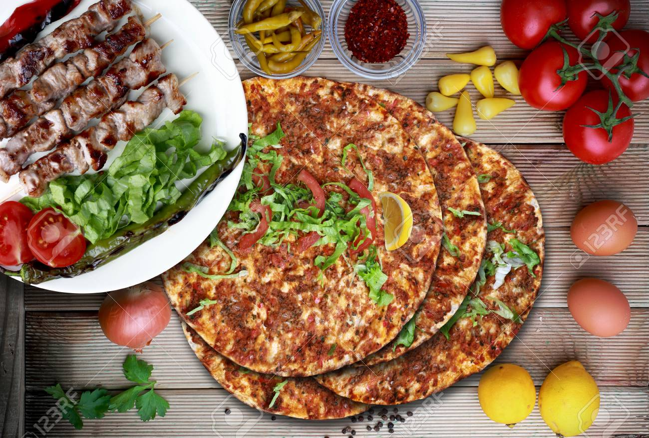 lamb on skewither and Lahmacun  Turkish Culture