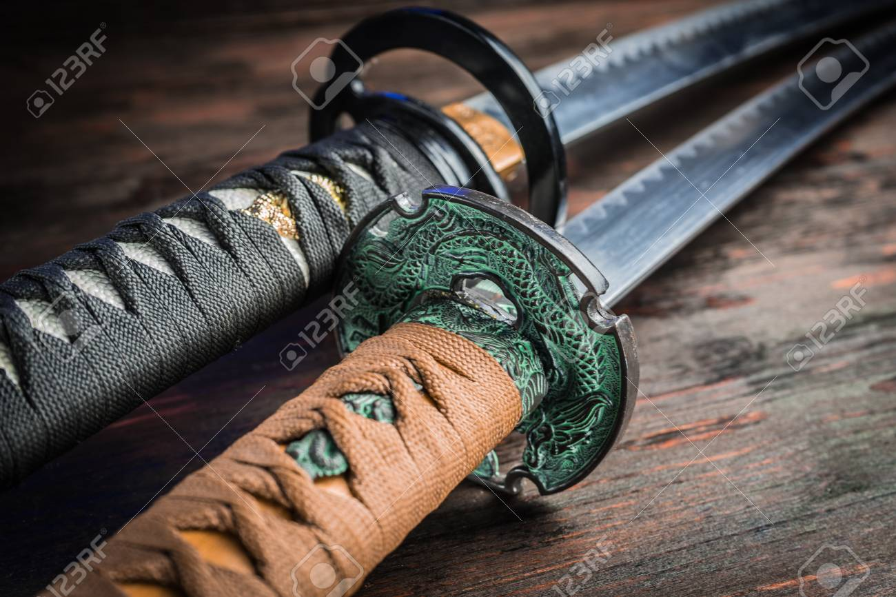 Sword of the samurai. Medieval Japanese weapons. Sword of the samurai. Medieval Japanese weapons. - 96254017