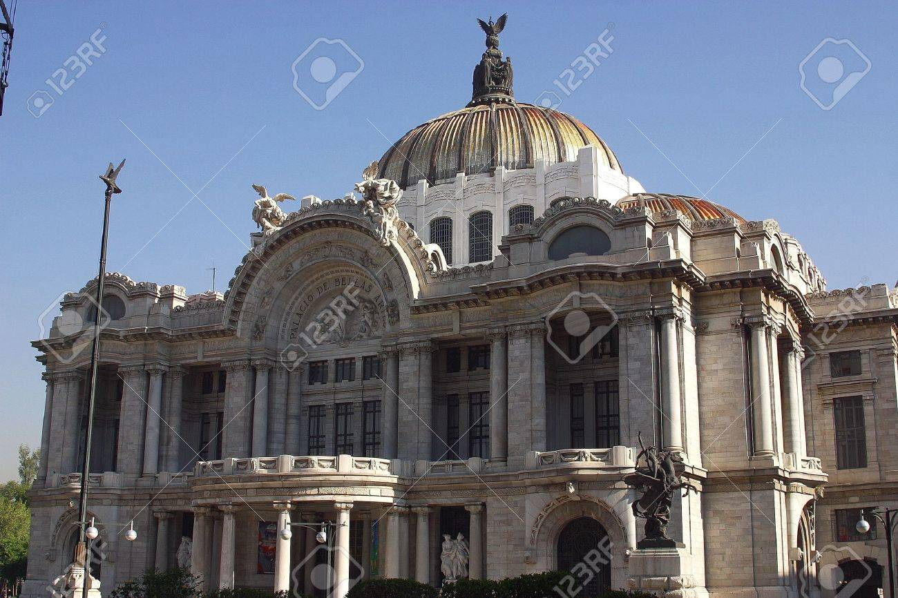 front view of the marble construction of the Palace of Fine Arts with partial view of the gardens and fountains in front, down town Mexico city, Mexico Latin America Stock Photo - 853067
