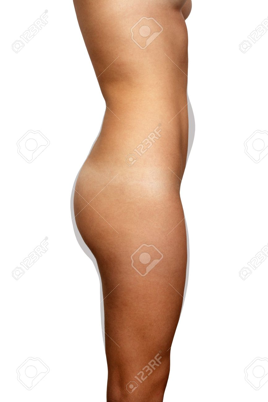 a right profile view of a nude female torso isolated on a white