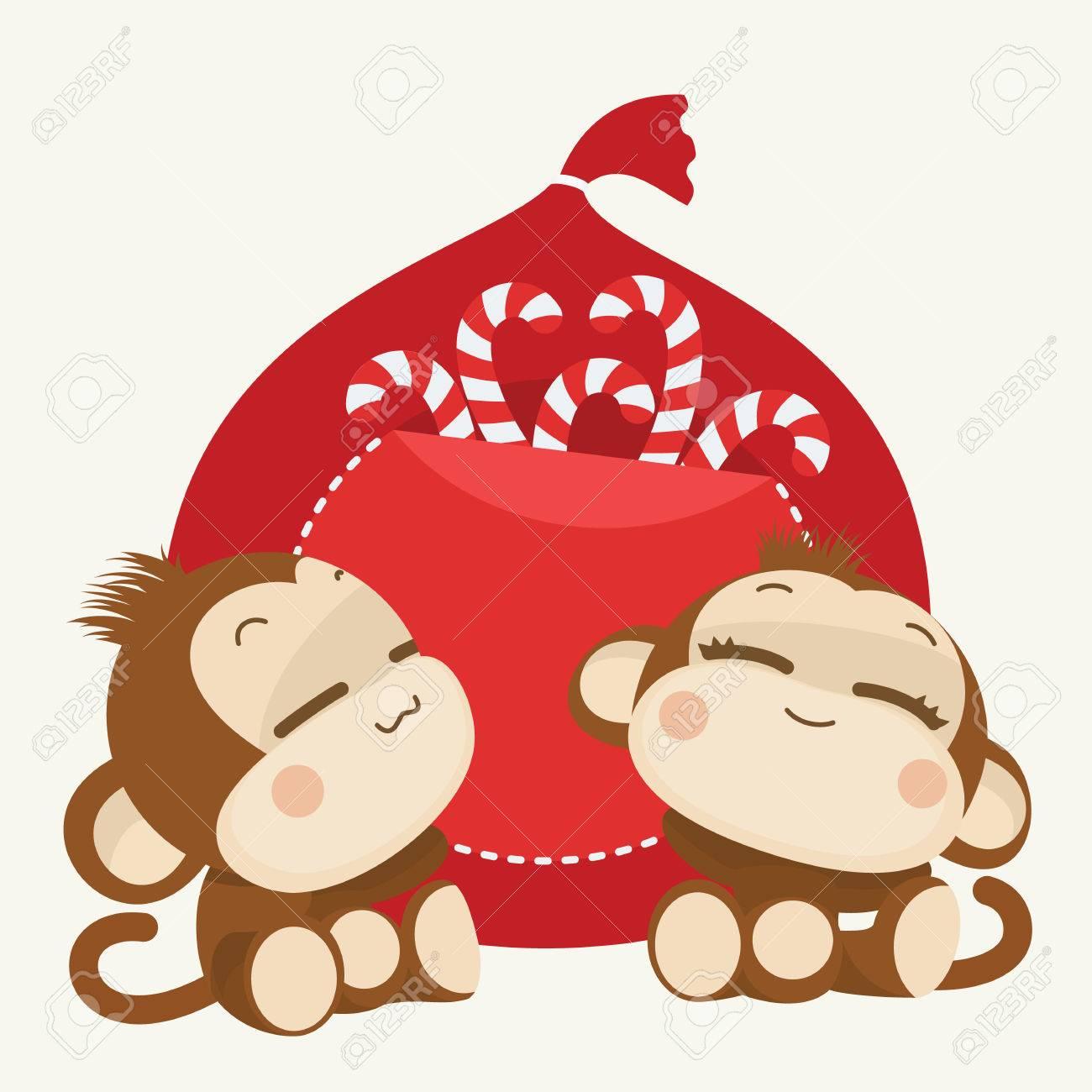 cute lovely monkey couple happy new year 2016 vector illustration stock vector 48521183