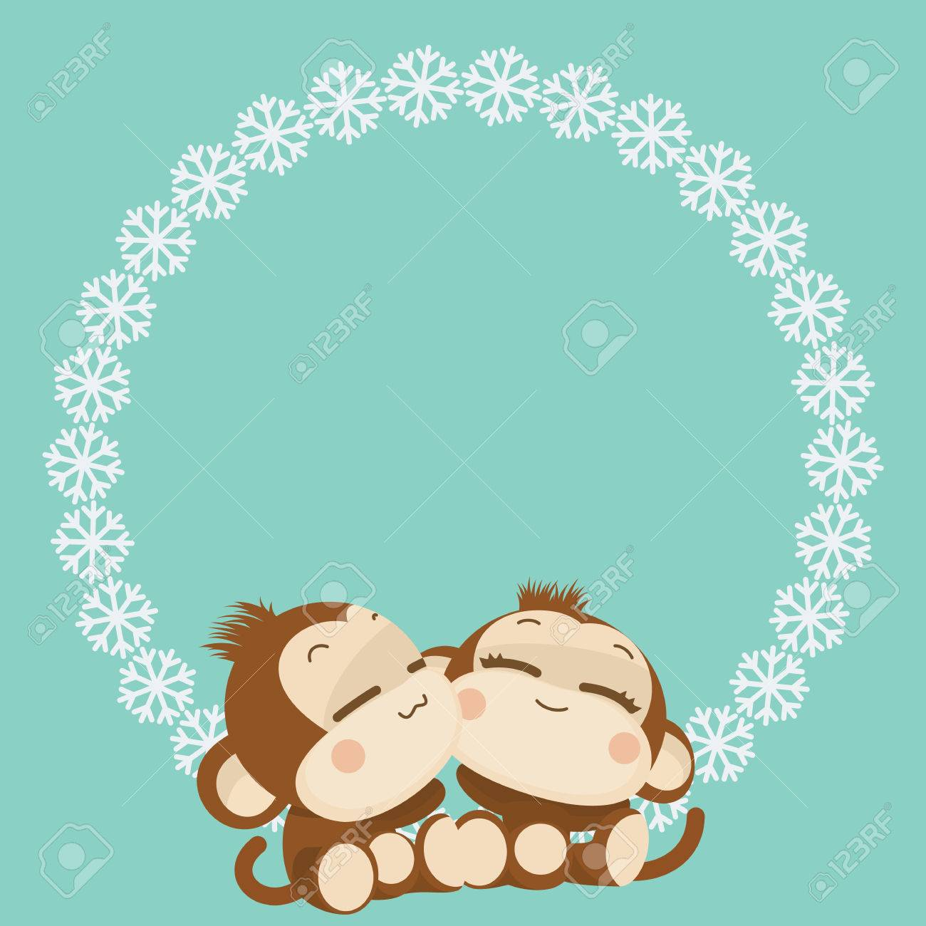 cute lovely monkey couple happy new year 2016 vector illustration stock vector 48521193