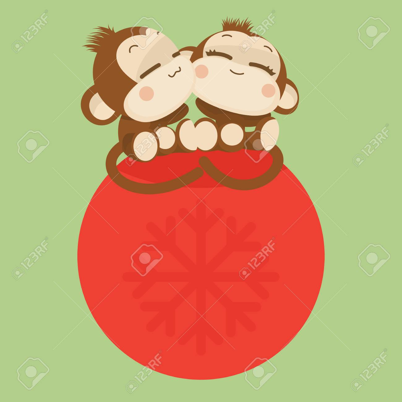 cute lovely monkey couple happy new year 2016 stock vector 48735105