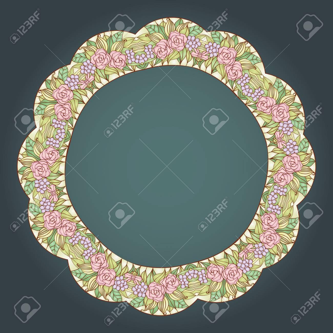 29d066caa33 Vintage Art Nouveau Floral Rose Wreath Frame Royalty Free Cliparts ...