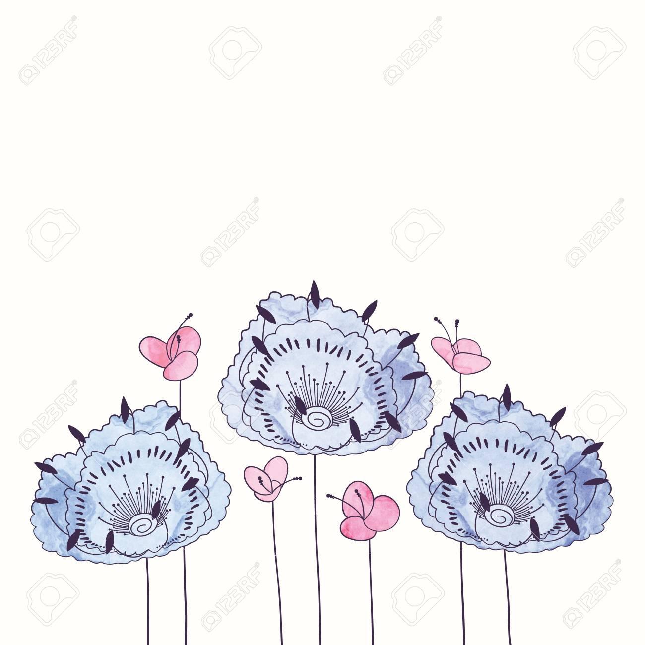 Aquarelle Cadre Fleur Ronde Main Dessiner La Frontiere Florale