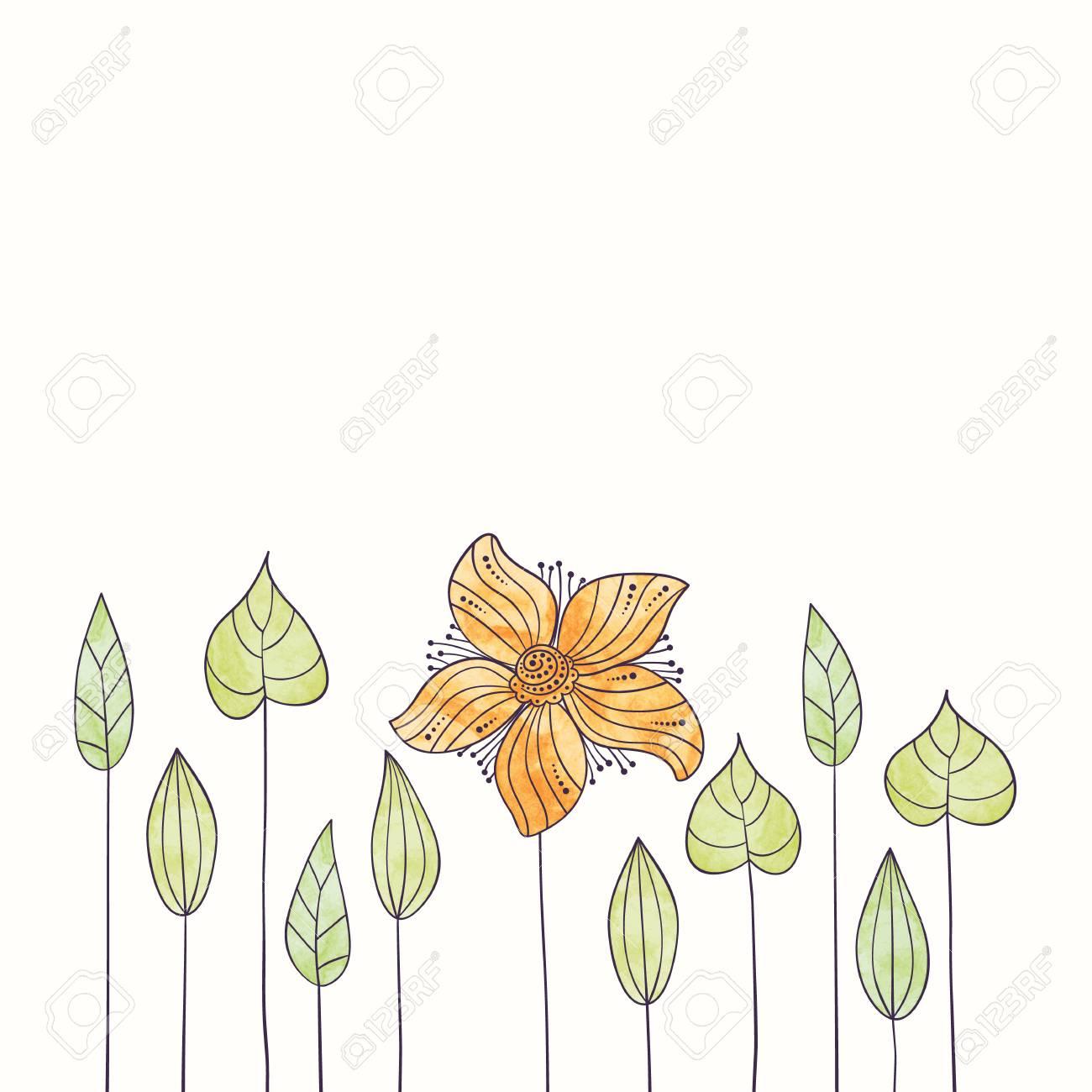 Aquarelle Fleur Frontiere Main Dessiner Romantique Illustration