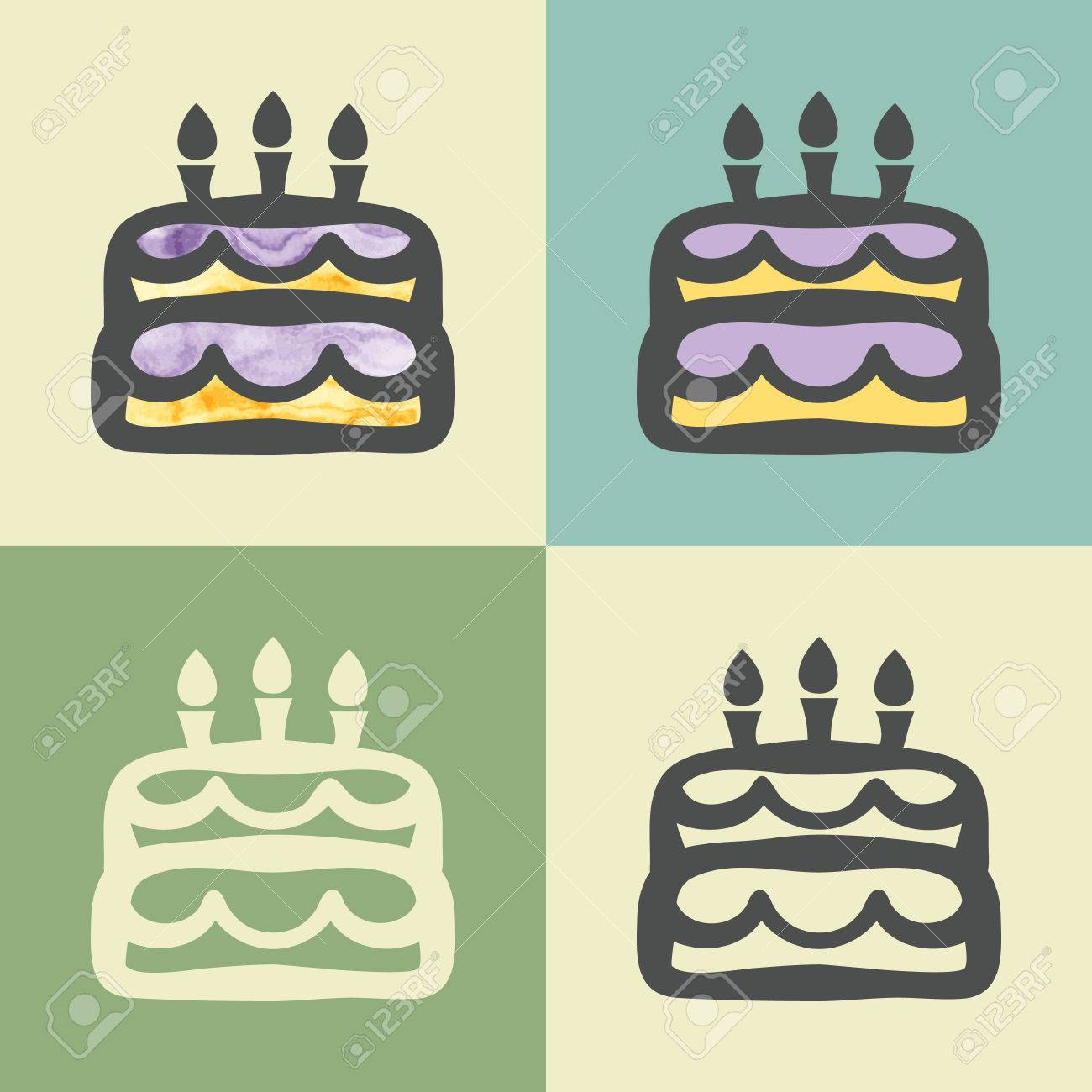 Vector Outline Birthday Cake Food Icon With Watercolor Fill