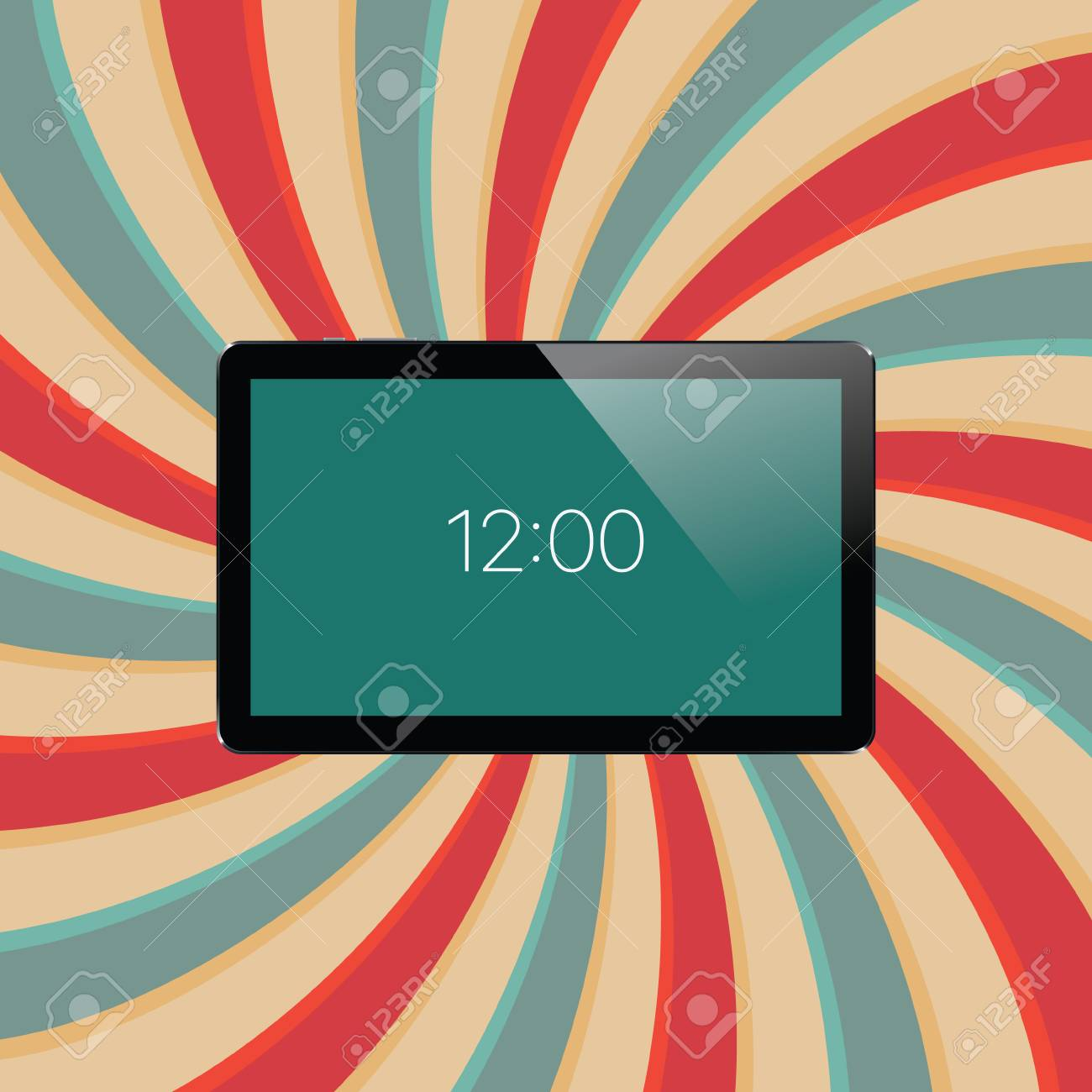Digital tablet with shiny sensor screen on abstract swirl colorful