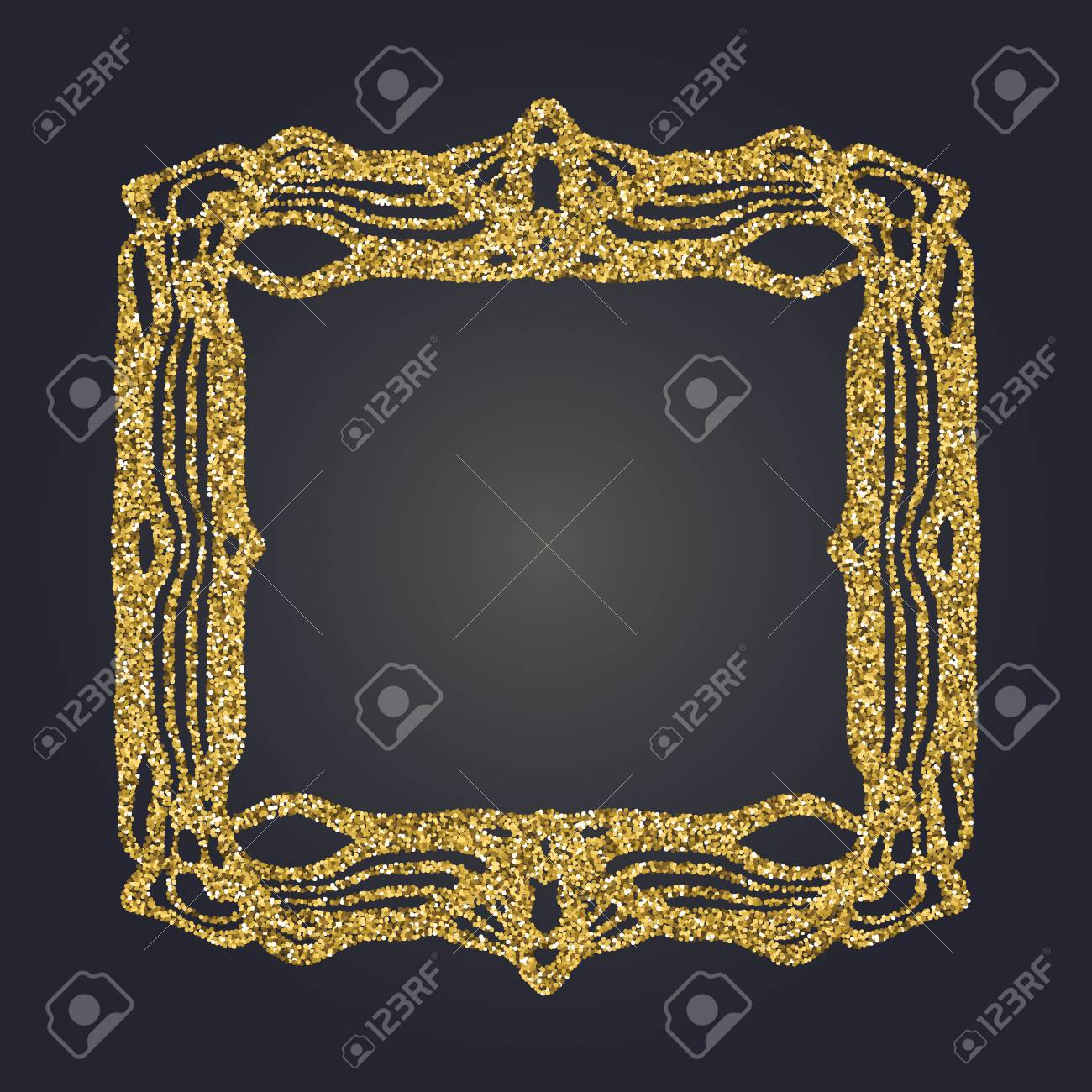 Art Nouveau Gold Glitzer Elegante Glatte Linien Dekorative Rechteck ...