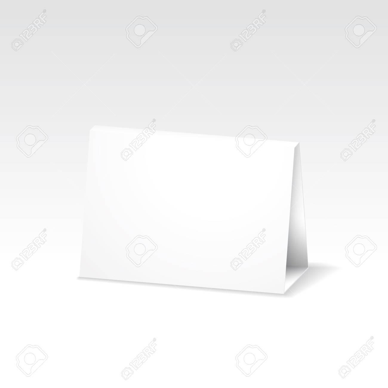Blank white folded paper stand table holder card. 37D vector design..