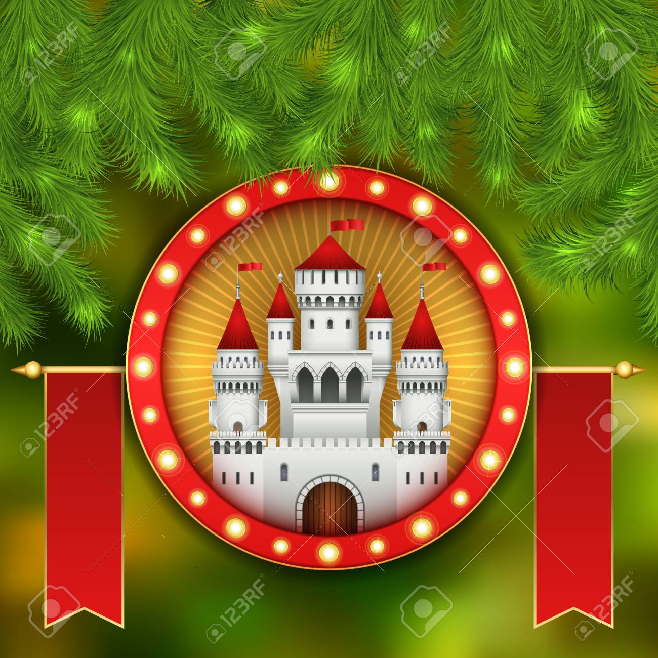 Christmas card with white castle, fireworks and branches of a Christmas tree. Christmas illustration with celebratory elements. White medieval castle with a red roof and red flags on the spiers - 90224118