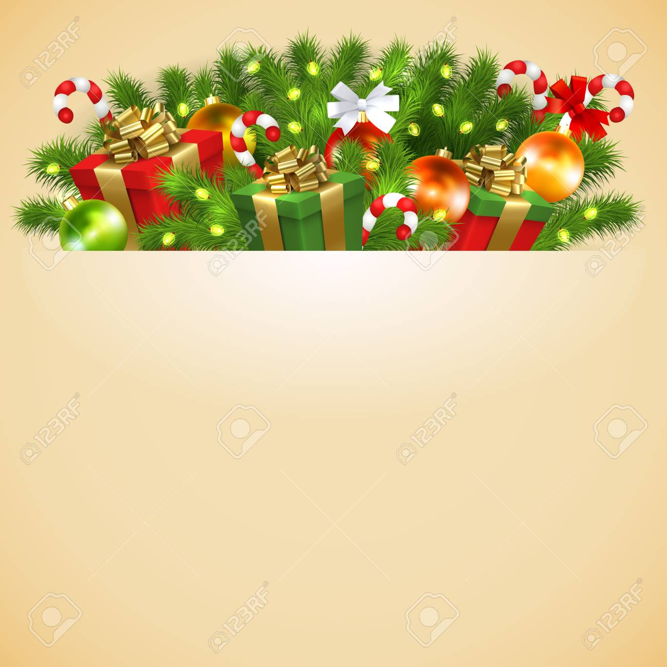 Christmas Card With Gift Boxes With Gold Ribbon Bow Garland Royalty Free Cliparts Vectors And Stock Illustration Image 90746591