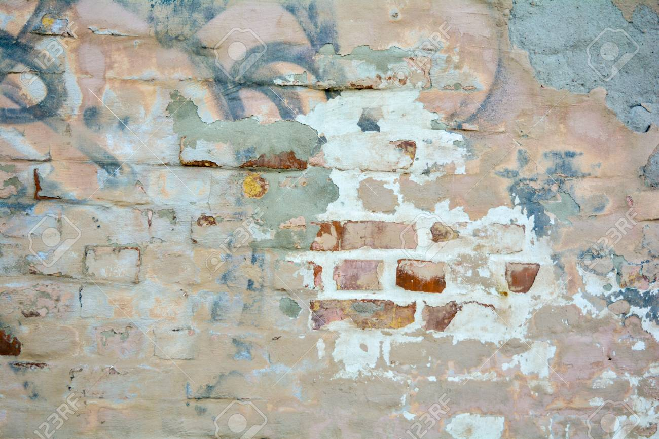 Empty Old Distressed Painted Brick Stucco Wall Surface Texture