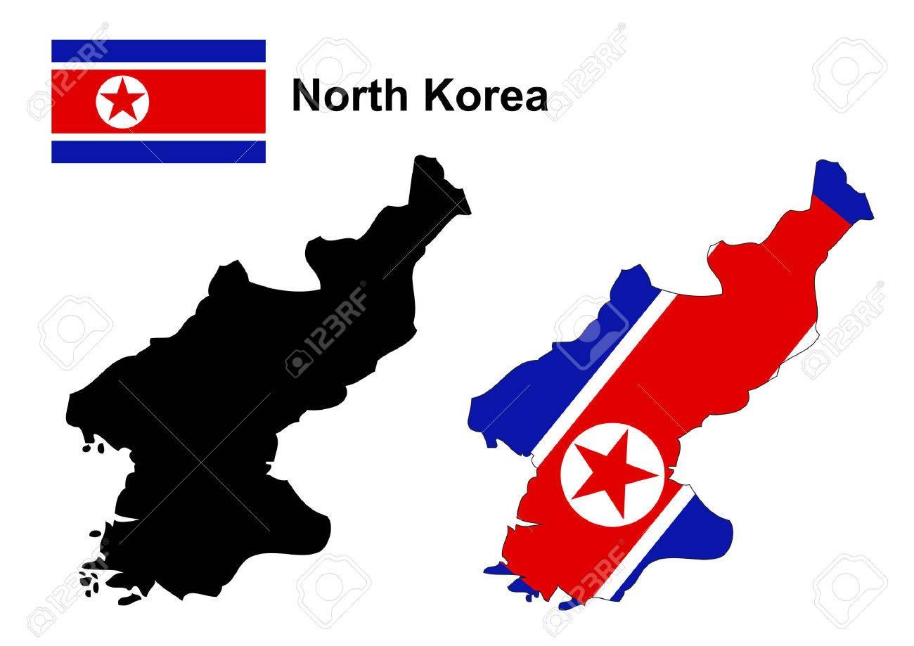 North Korea map and flag - 38922632