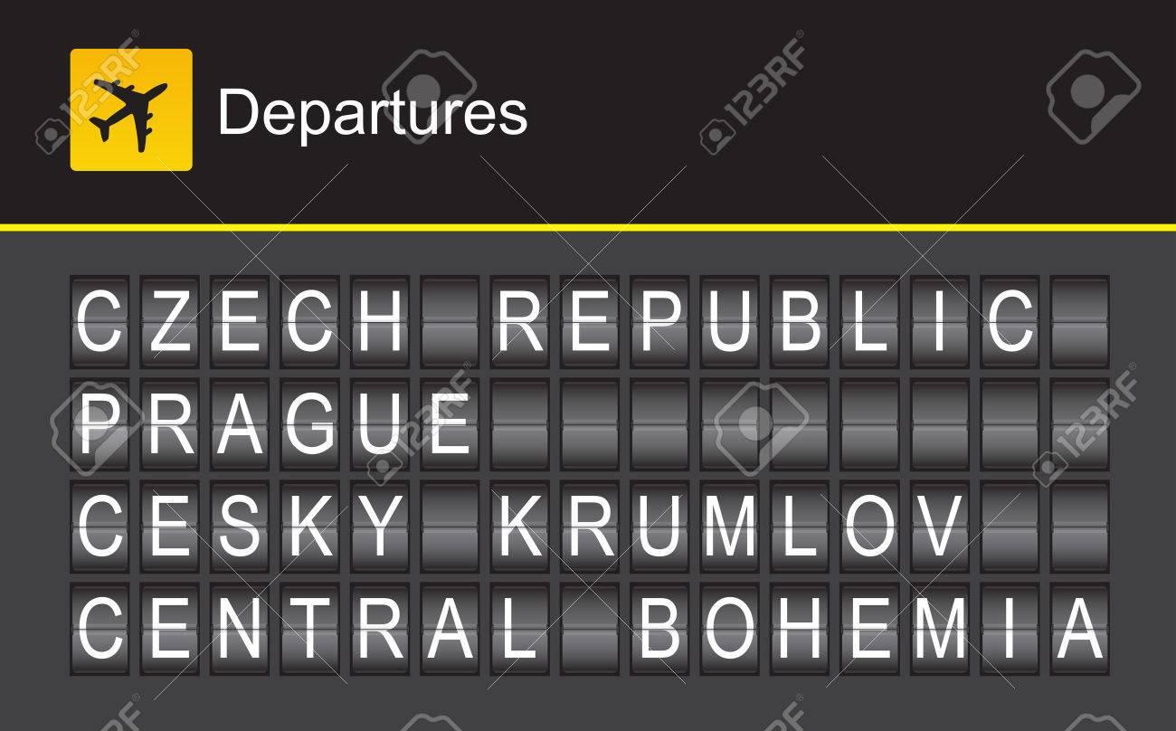 Czech Republic flip alphabet airport departures, Prague, Cesky Krumlov, Central Bohemia - 39365371