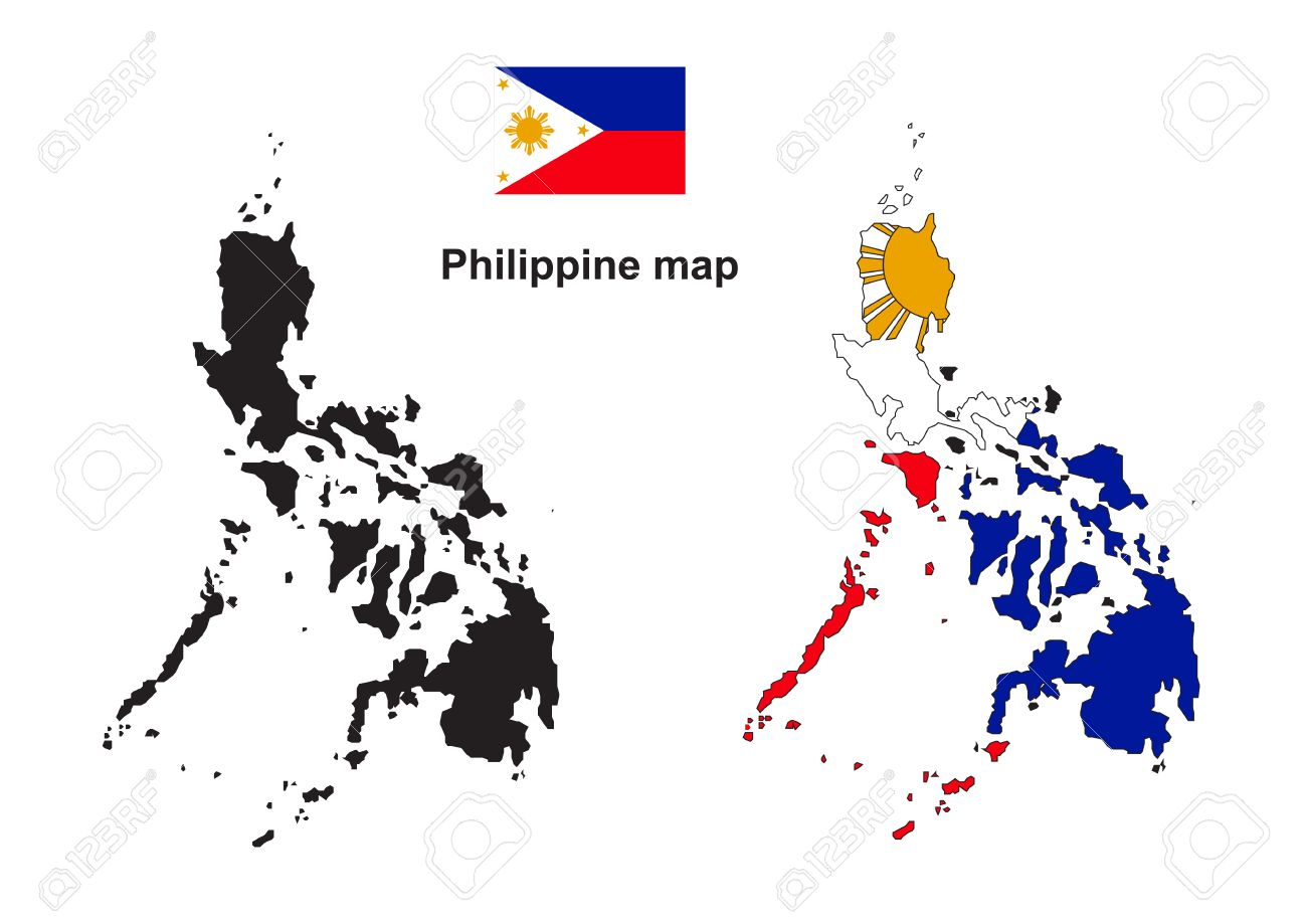 Philippine map, Philippine flag vector - 39075599