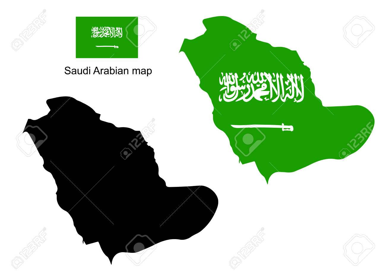 Saudi Arabia Map Vector Saudi Arabia Flag Vector Royalty Free