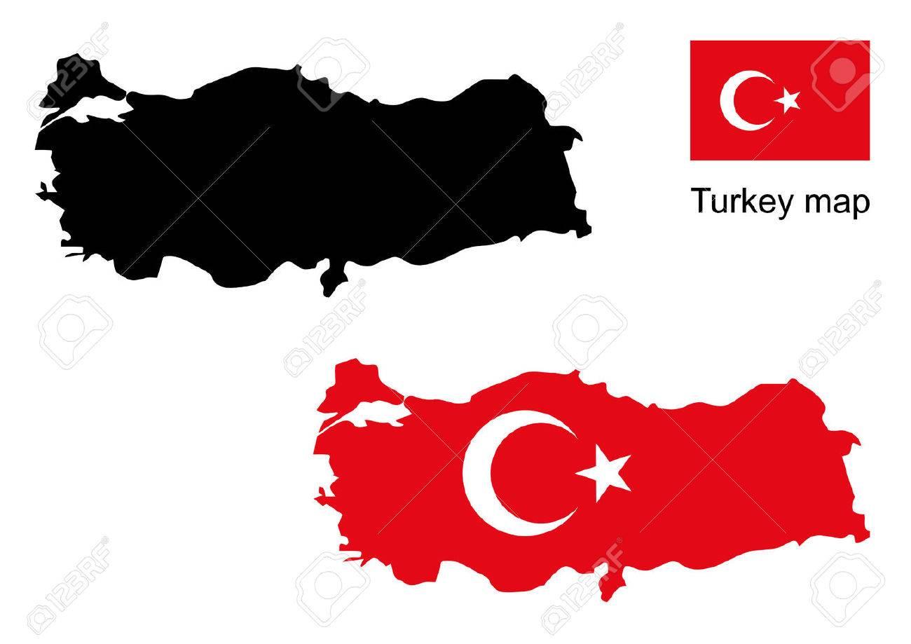 turkey map vector, turkey flag vector - 39075620
