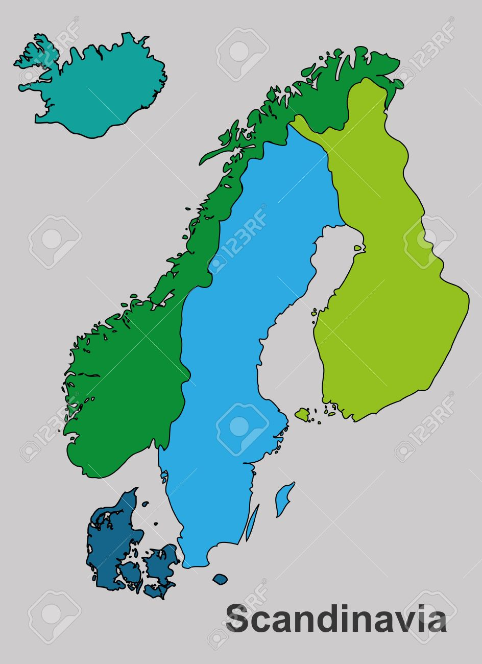 Scandinavia Map In White Background Scandinavia Map Vector Royalty Free Cliparts Vectors And Stock Illustration Image 39468415