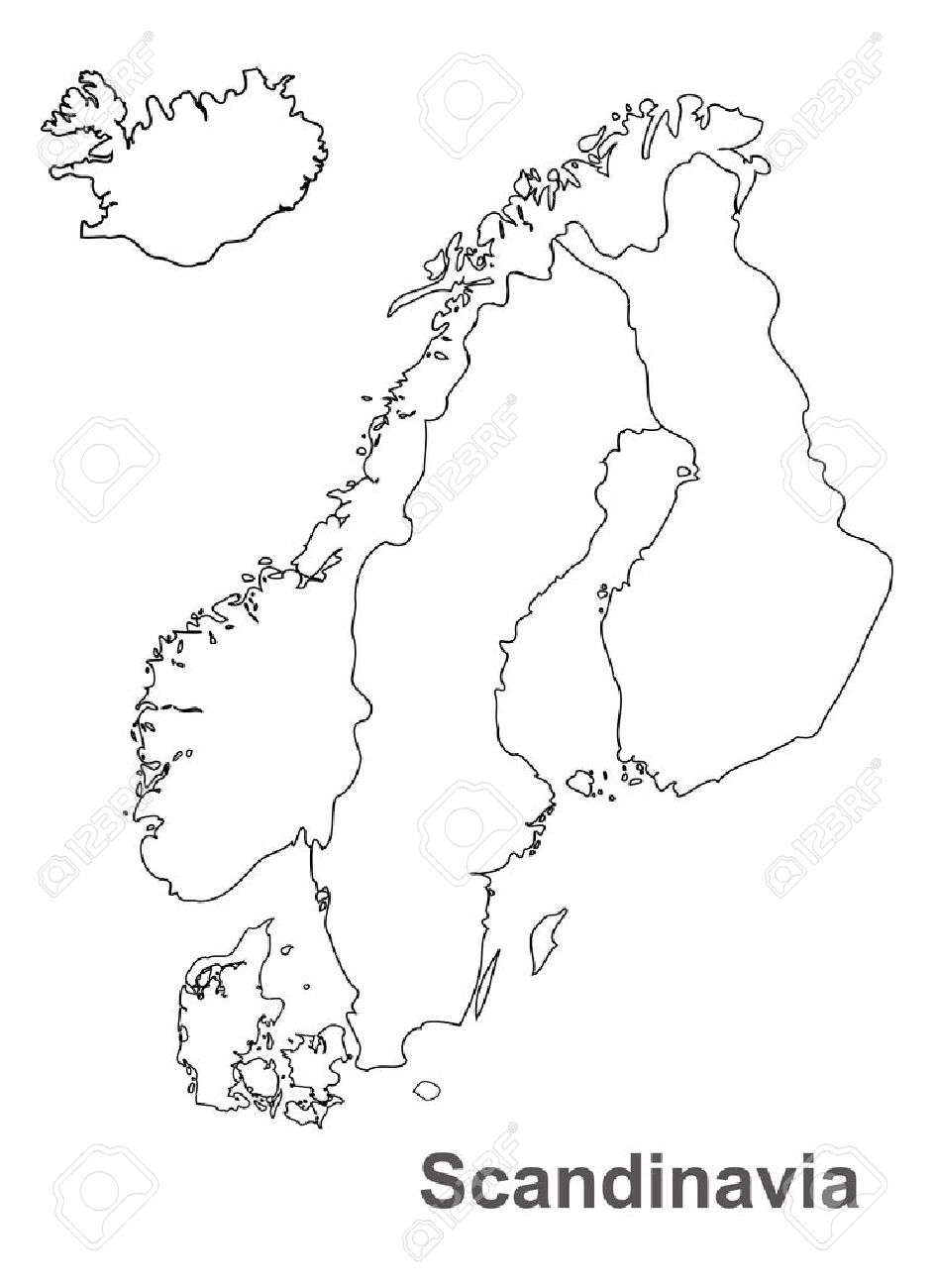 Scandinavia Map In White Background Scandinavia Map Vector