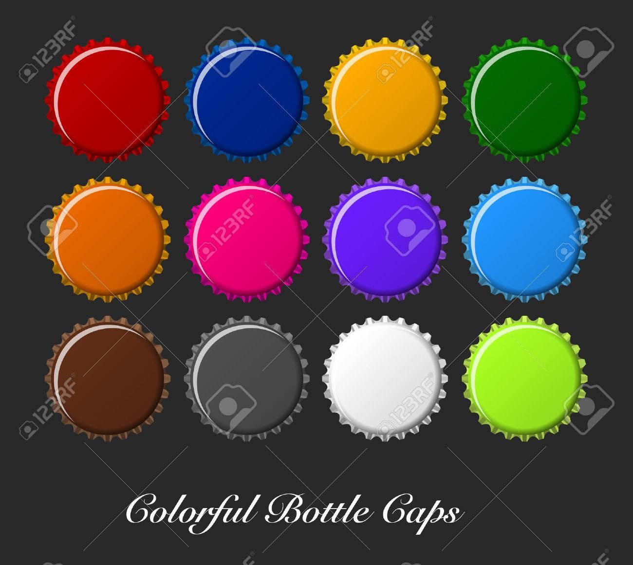 colorful bottle caps, bottle caps vector - 39496395