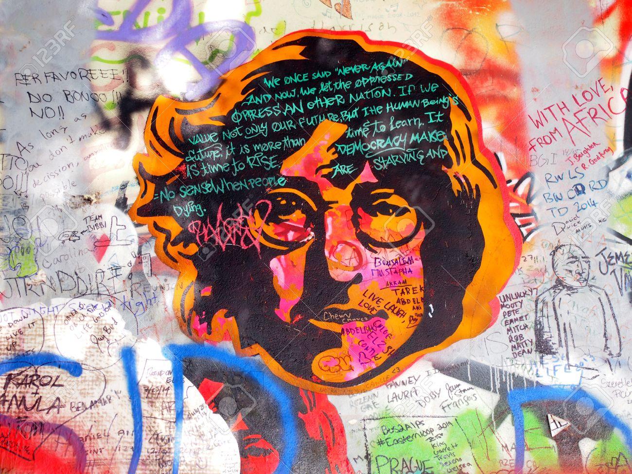 Prague czechia september 25 john lennon wall on september 25 2014 in prague since