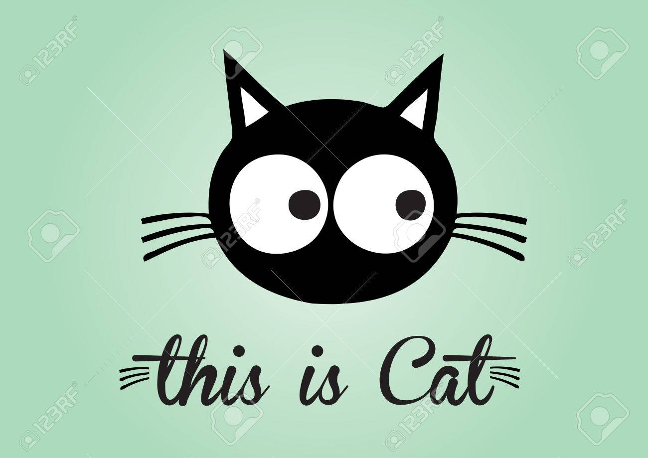This is cat, cat vector, cute cat colorful. green background - 45337531