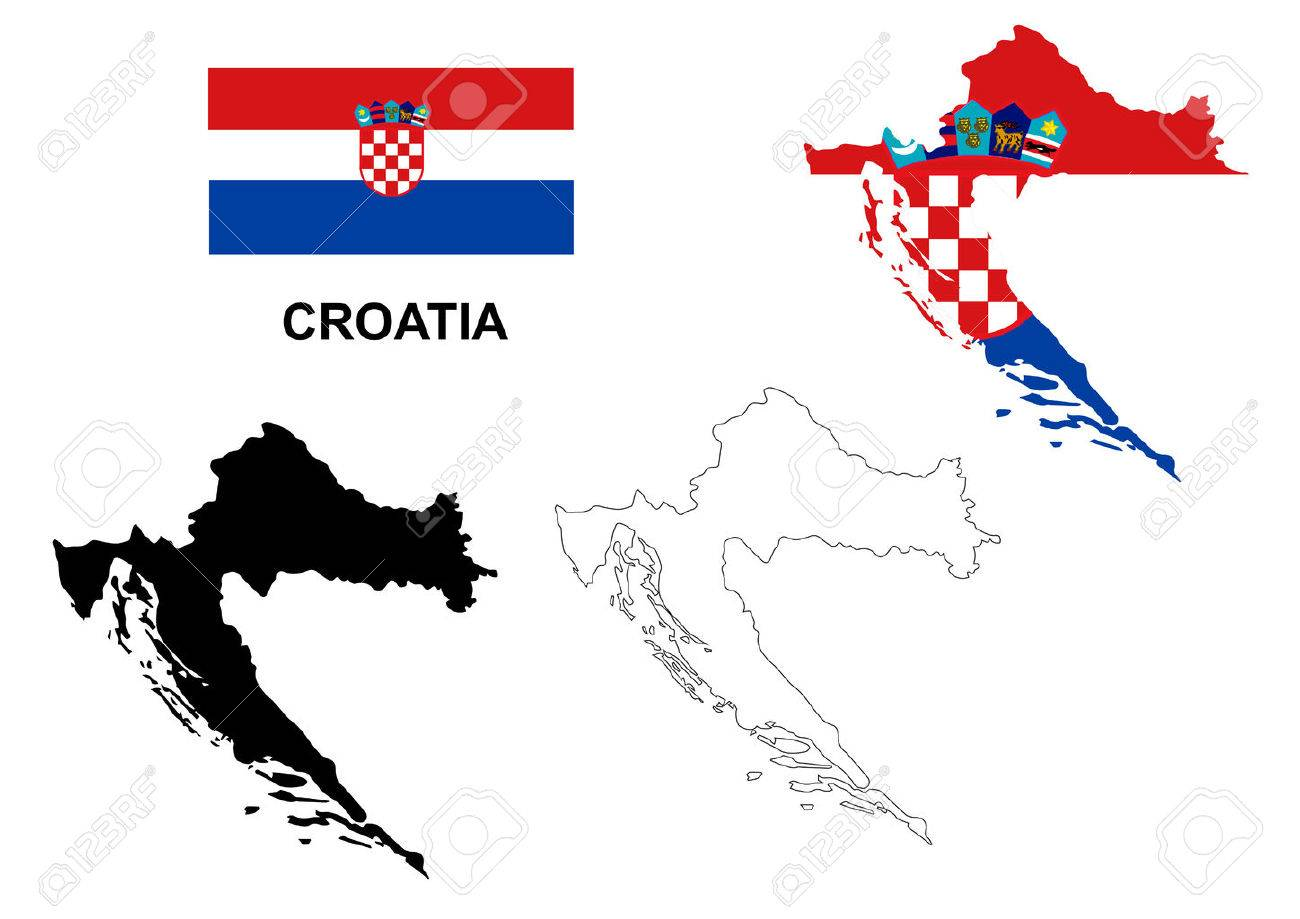 Croatia Map Vector, Croatia Flag Vector, Isolated Croatia Royalty ...