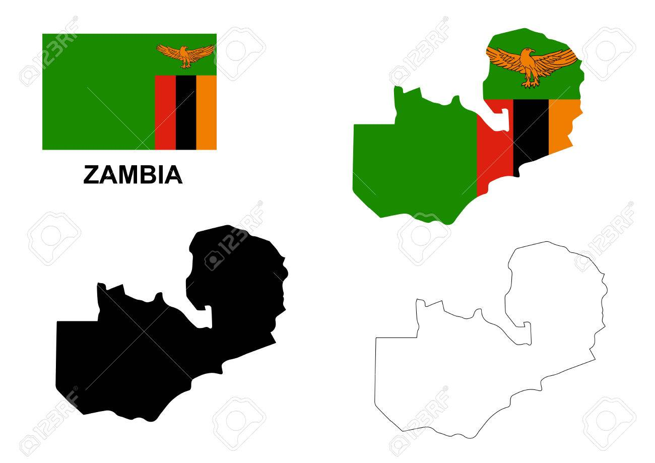 Zambian Map Vector.Zambia Map Vector Zambia Flag Vector Zambia Isolated White