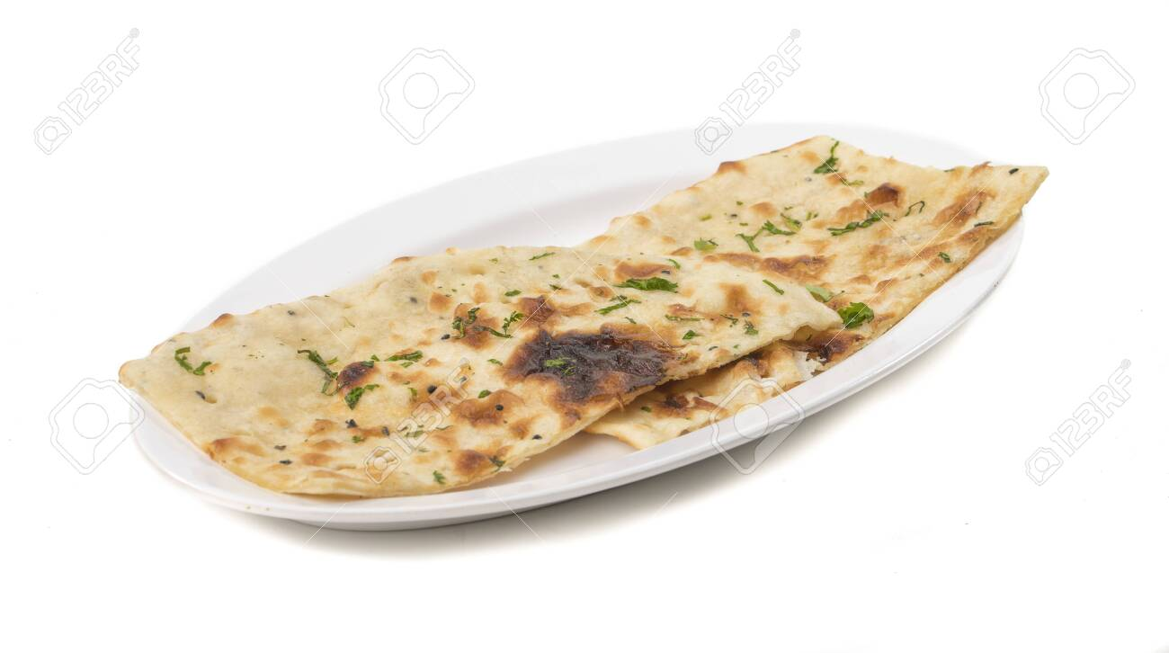 Indian naan bread isolated on white - 128602680