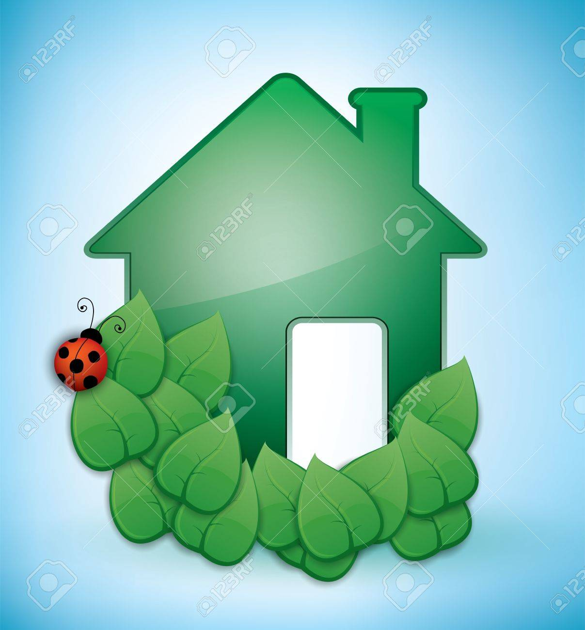 Eco Friendly Construction Green Eco Friendly House Illustration With Leaves And A Ladybird
