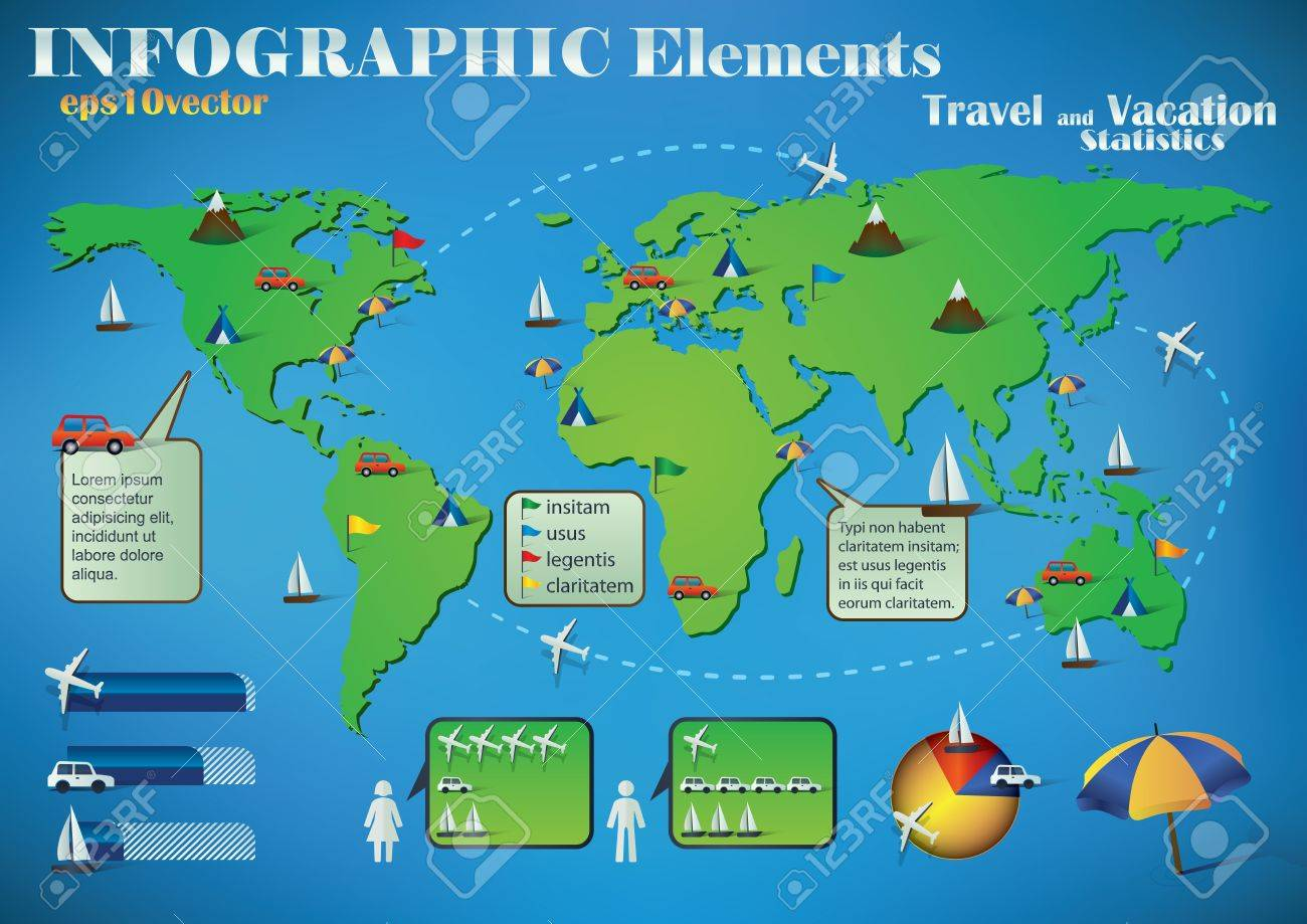 Infographic travel elements on a green world map for air road infographic travel elements on a green world map for air road and sea transport and gumiabroncs