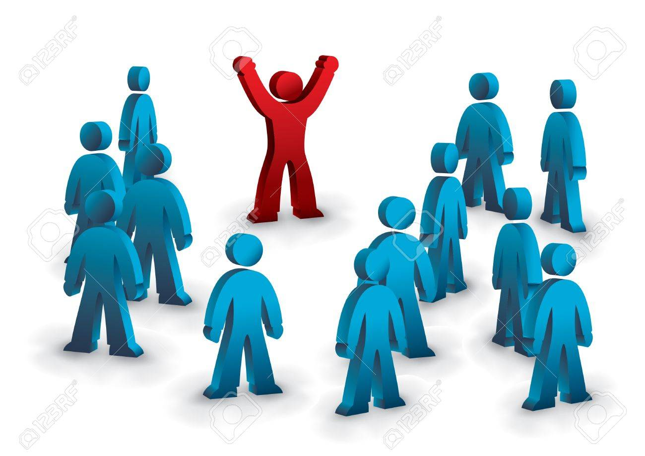one person standing out from the crowd Stock Vector - 11562865