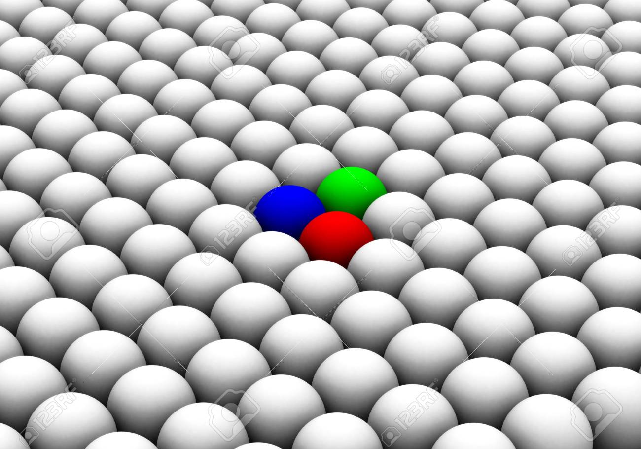 illustration of colored spheres among whites Stock Photo - 11583795