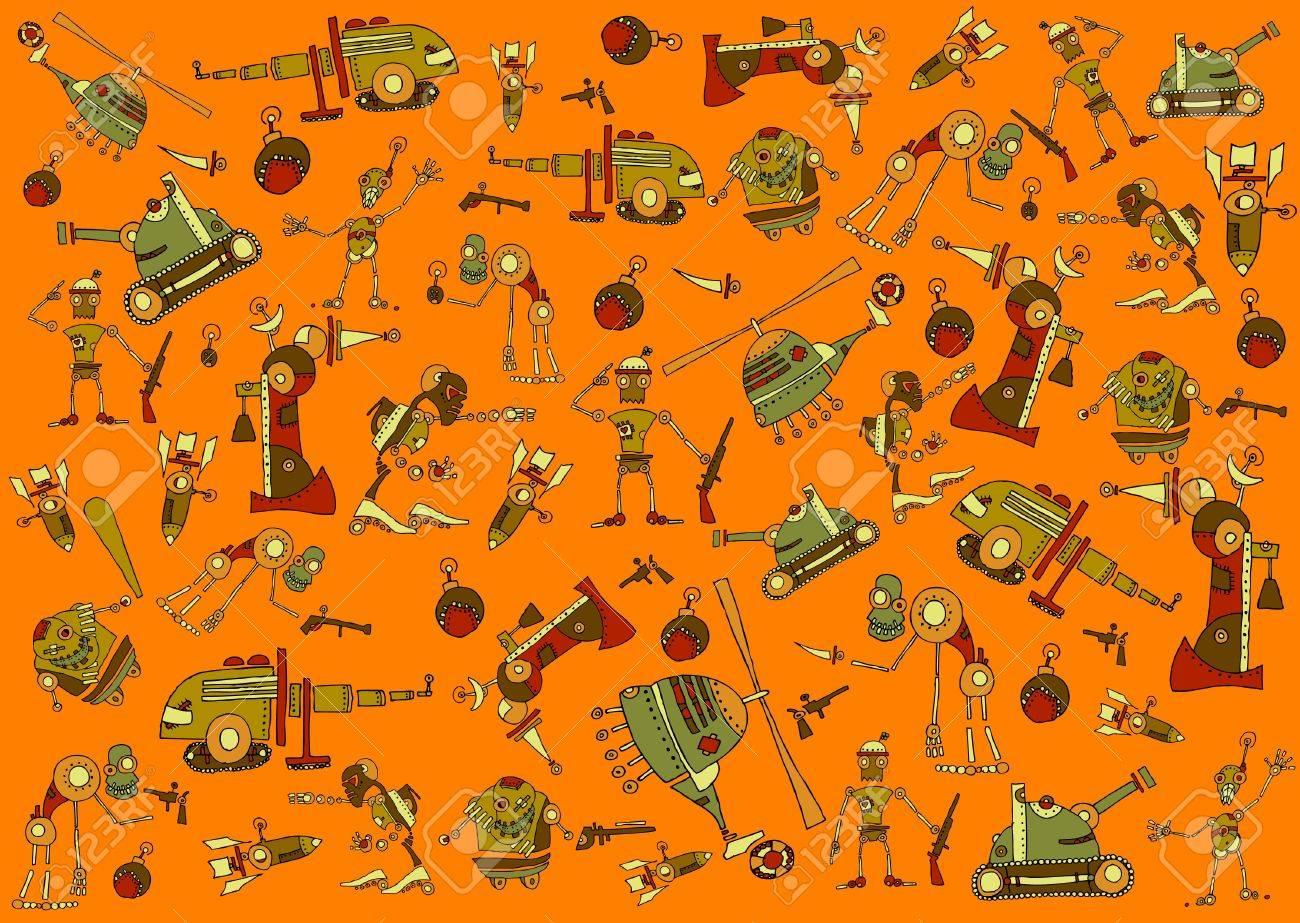 war texture with cartoon elements Stock Photo - 11585470